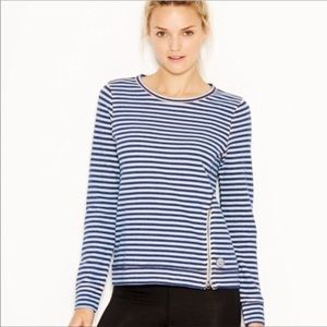 Lucky Brand Lucky Lotus Striped Pullover Top Blue